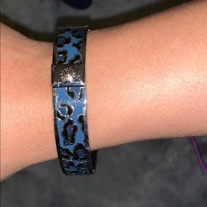 Coach bangle in blue and black cheetah
